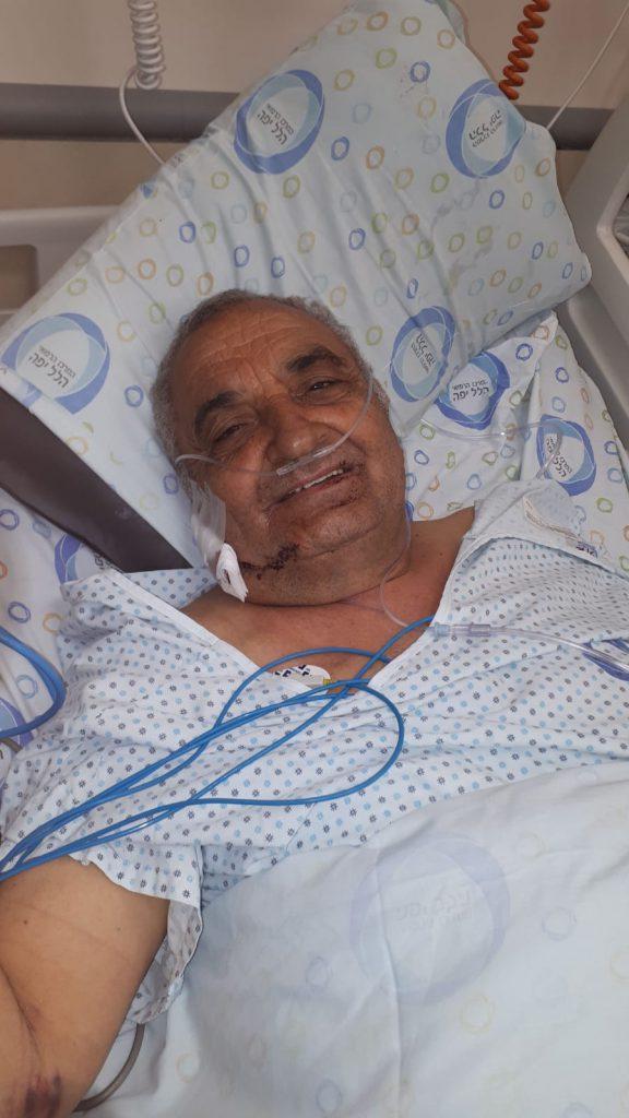 אלי גואטה לאחר הניתוח בבית החולים הילל יפה