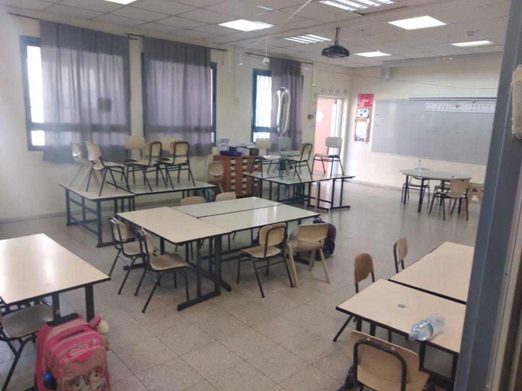 כיתות ריקות הבוקר בבית ספר לאה גולדברג