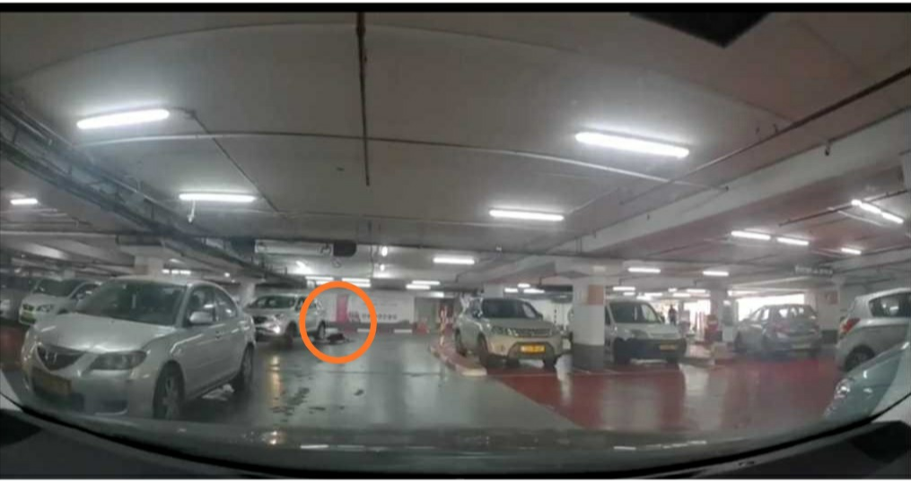 תיעוד התאונה בחניון