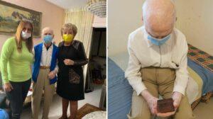 מימין צילום מתוך הפוסט של העמותה, משמאל הקשיש בחברת ראש העיר והממונה על הרווחה בנתניה